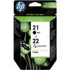 HP 21/22 Cartouche Noir + Pack Combiné 3 Couleurs (SD367AE)