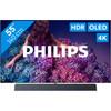 <p>Met de Philips 55OLED934 creëer je jouw eigen bioscoop in de huiskamer. De televisie beschikt over een soundbar, waardoor het geluid helder en krachtig klinkt. De soundbar ondersteunt de Dolby Atmos techniek, waarmee het geluid via het plafond naar jouw luisterpositie weerkaatst. Het OLED televisiescherm toont zwart als écht zwart. Dit komt doordat iedere pixel individueel oplicht en een kleur produceert. Hierdoor geniet je van een hoog contrast. De P5 beeldprocessor zorgt voor een natuurgetrouwe en kleurrijke beeldweergave.</p>