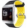 achterkant Ionic Siliconen Horlogeband Zwart/Geel