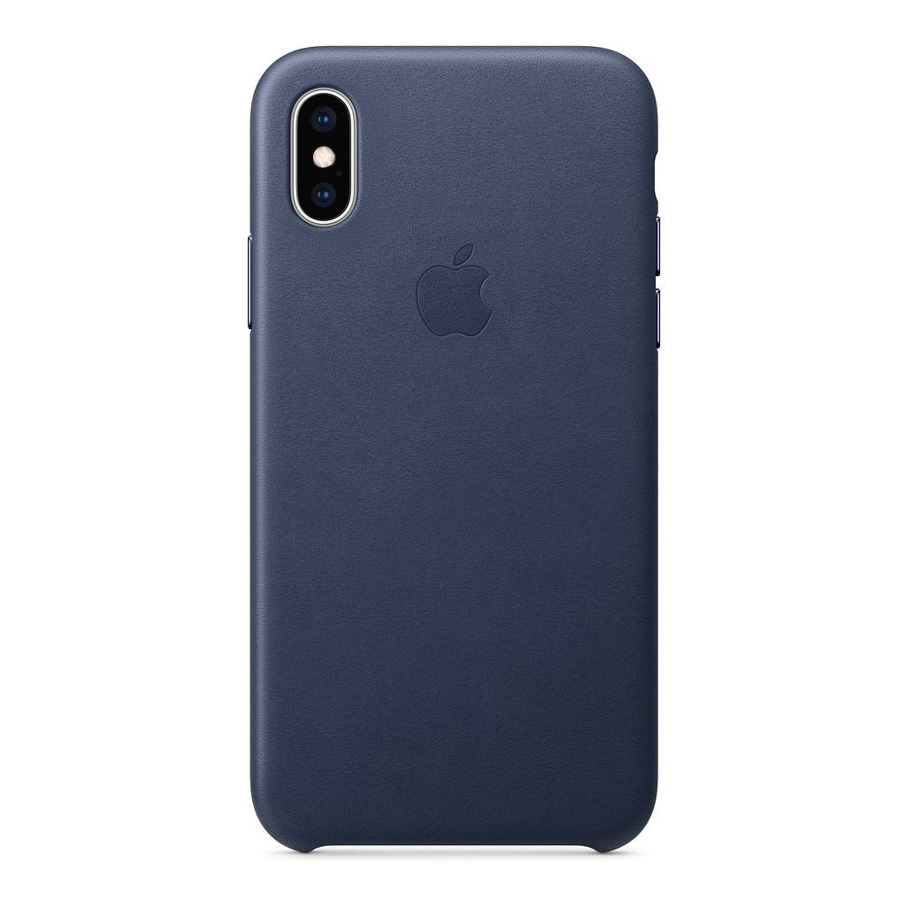 Apple iPhone Xs Coque Arrière en Cuir Bleu nuit