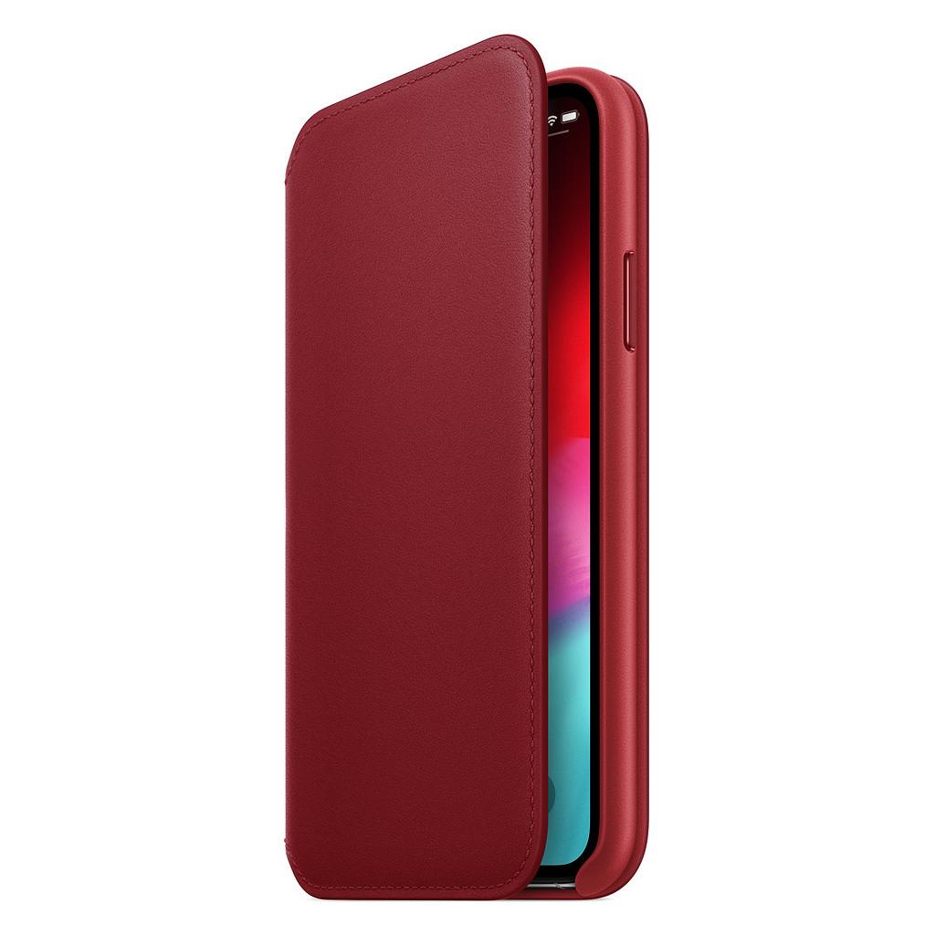 Apple iPhone Xs Coque à rabat folio en Cuir Rouge