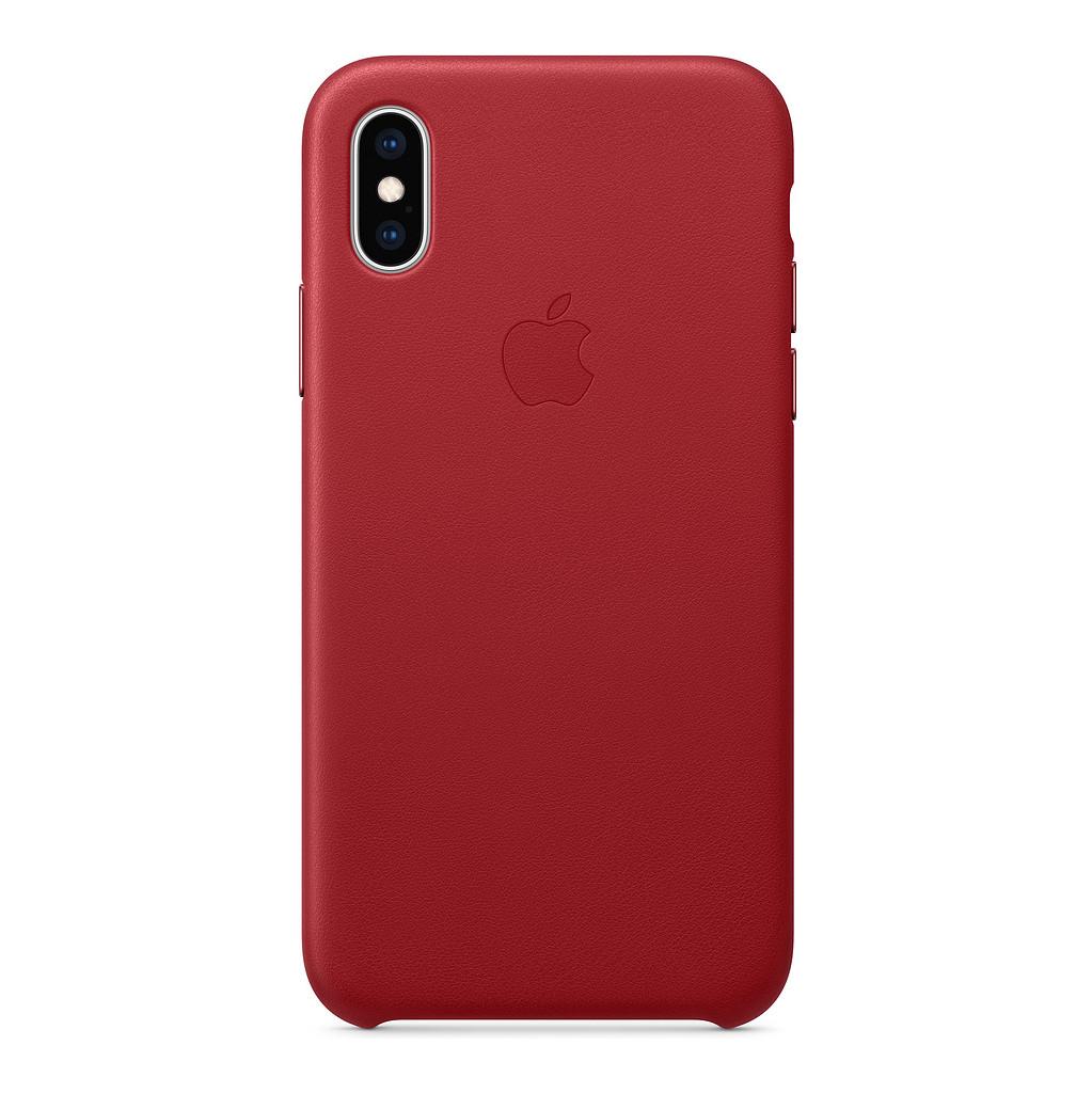 Apple iPhone Xs Coque arrière en Cuir RED