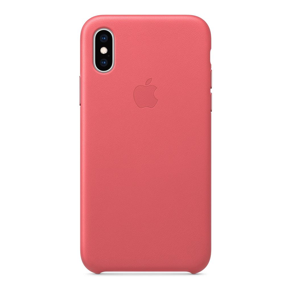 Apple iPhone Xs Max Coque arrière en Cuir Rose pivoine
