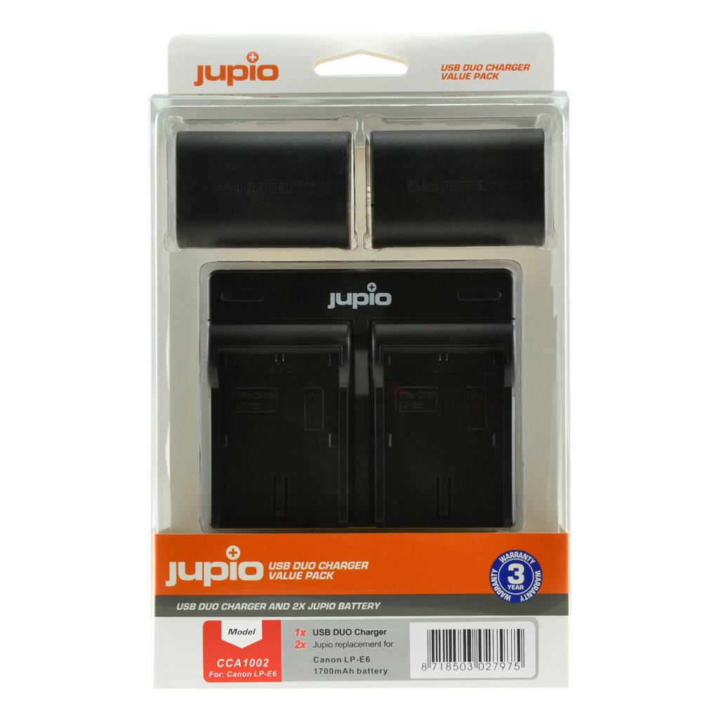Jupio Kit : Batterie LP-E6 1700 mAh (x 2) + Chargeur double