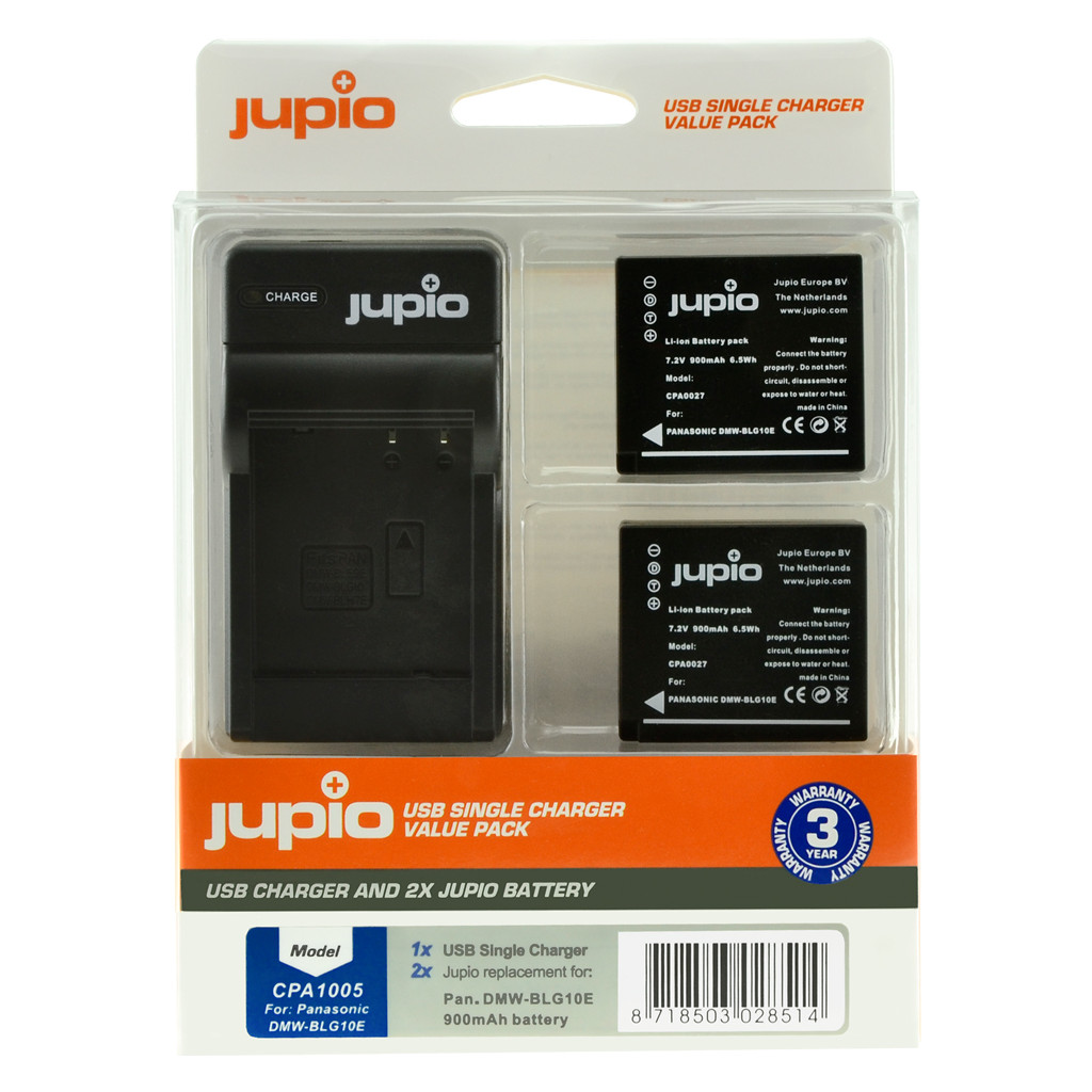 Jupio Kit: 2x Batterie DMW-BLG10E + Chargeur USB unique