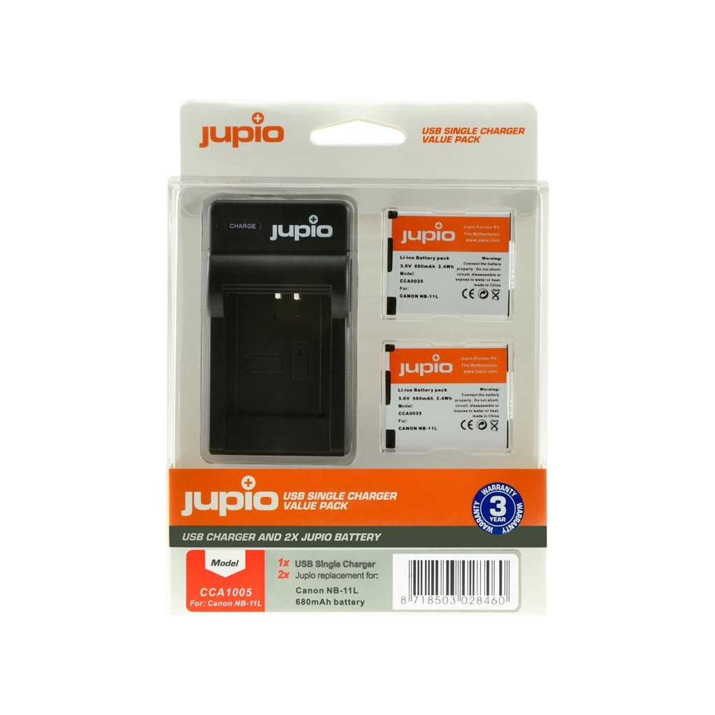 Jupio Kit : 2x Batterie NB-11L + Chargeur USB unique