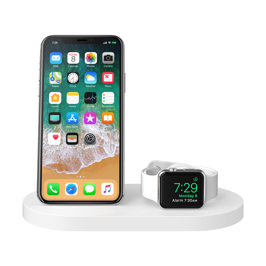 Belkin Boost Up Chargeur sans fil avec port USB-A iPhone/Apple Watch Blanc