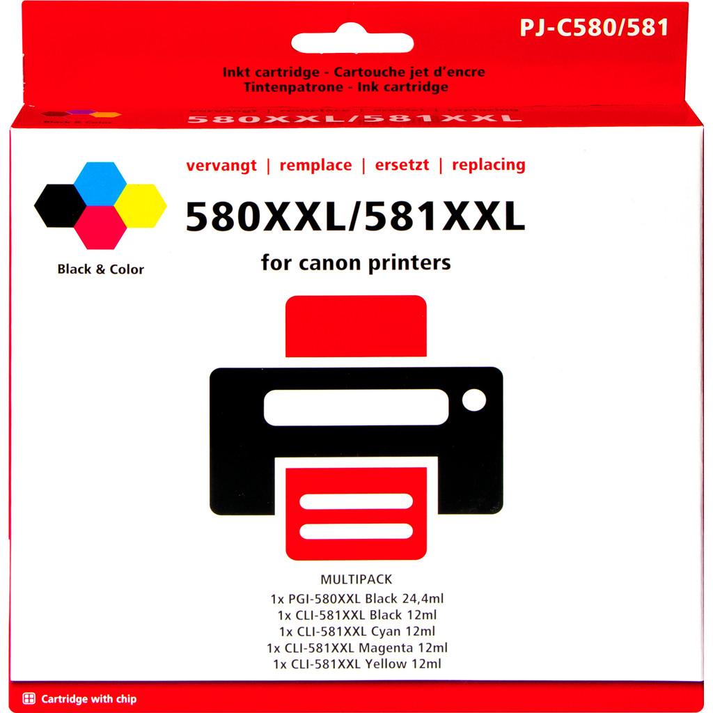 580XXL/581XXL Pack de 5 cartouches génériques pour Imprimantes Canon