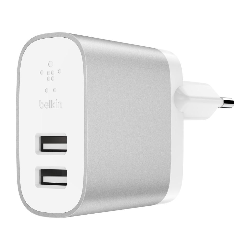 Belkin Chargeur Secteur USB Boost Charge avec 2 ports USB-A 12 W Blanc / Argent