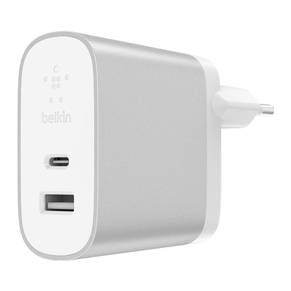 Belkin Chargeur Secteur Dual Power Delivery avec ports USB-C (27 W) et USB-A (12 W)