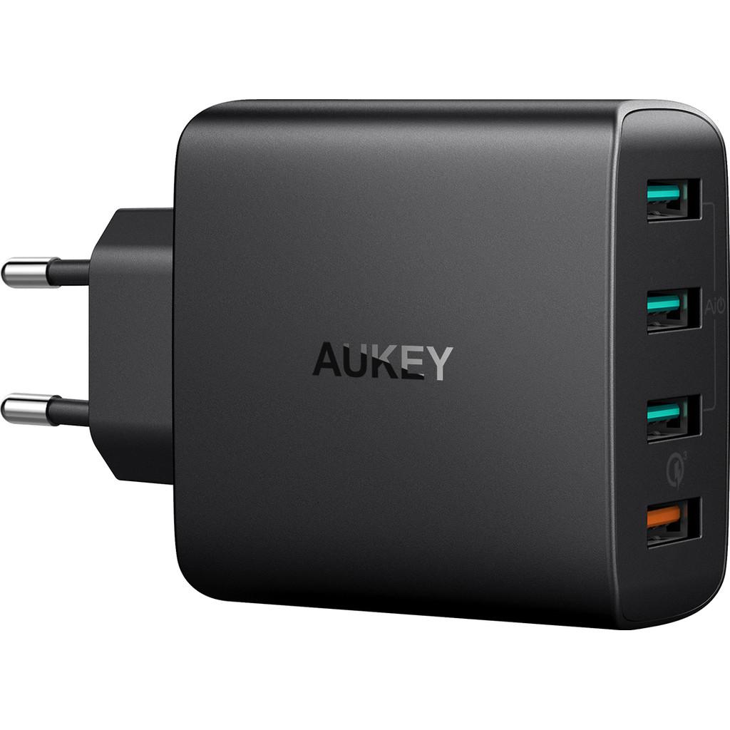 Aukey Chargeur Secteur USB-A avec 4 ports 4,8 A Quick Charge Black