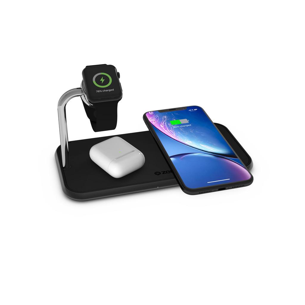 ZENS Dual & Watch Chargeur sans fil en Aluminium 10 W Noir