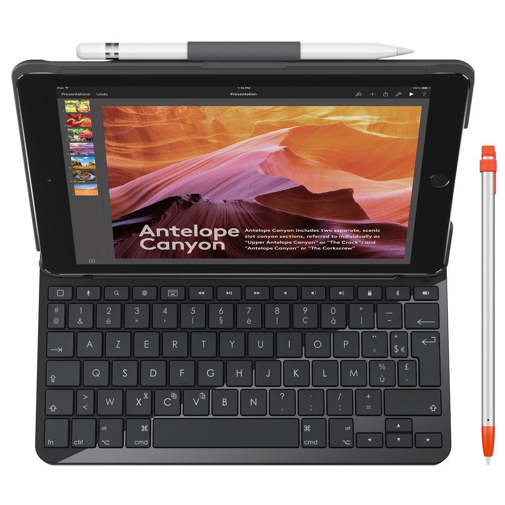 Logitech iPad (2018) Slim Folio Toetsenbord Hoes AZERTY + Stylus