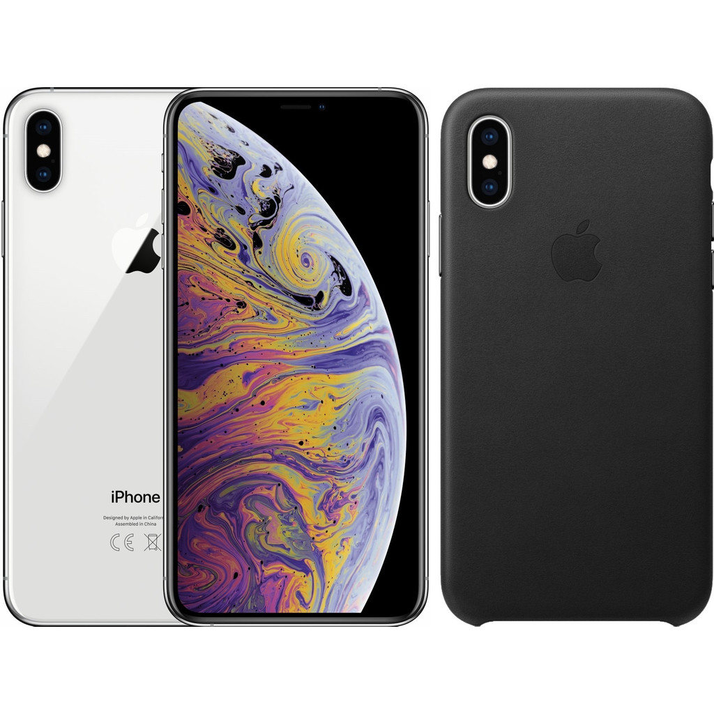 Apple iPhone Xs 256 GB Zilver + Leather Back Cover