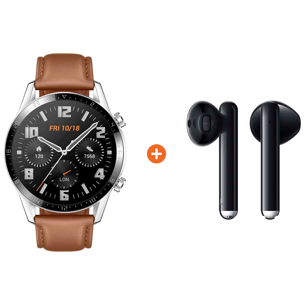 Huawei Watch GT 2 Zilver/Bruin 46mm + Huawei FreeBuds 3 Zwart