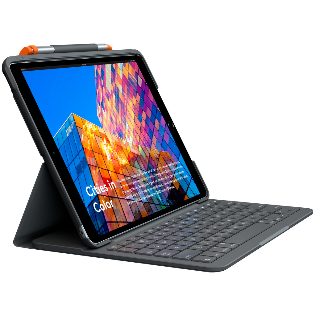 Logitech Slim Folio Apple iPad Air (2019) Toetsenbord Hoes AZERTY