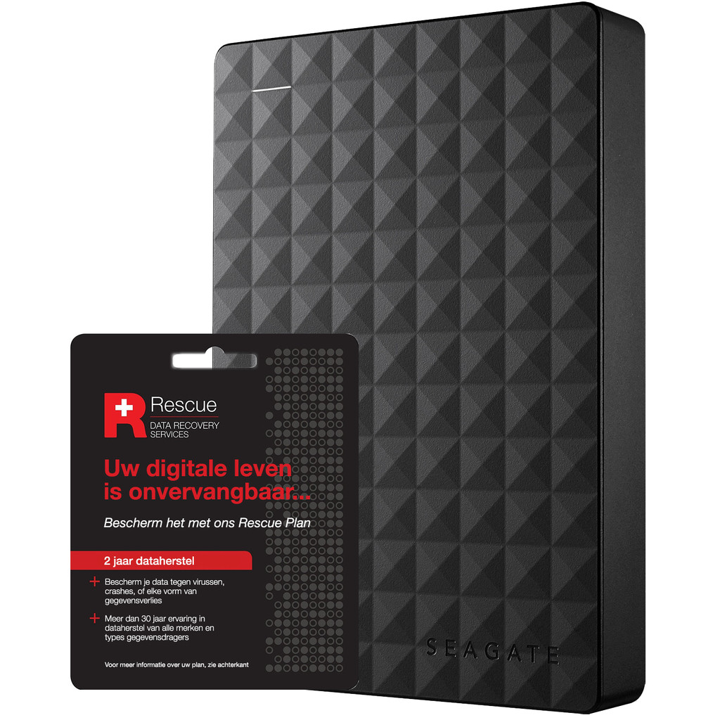 Seagate Expansion portable 5 TB + Seagate Rescue Card 2 jaar