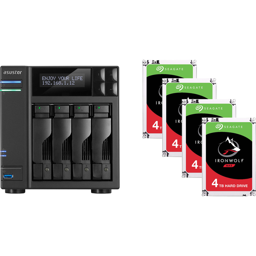 Asustor AS6404T + Seagate Ironwolf ST4000VN008 4 TB Quad Pack