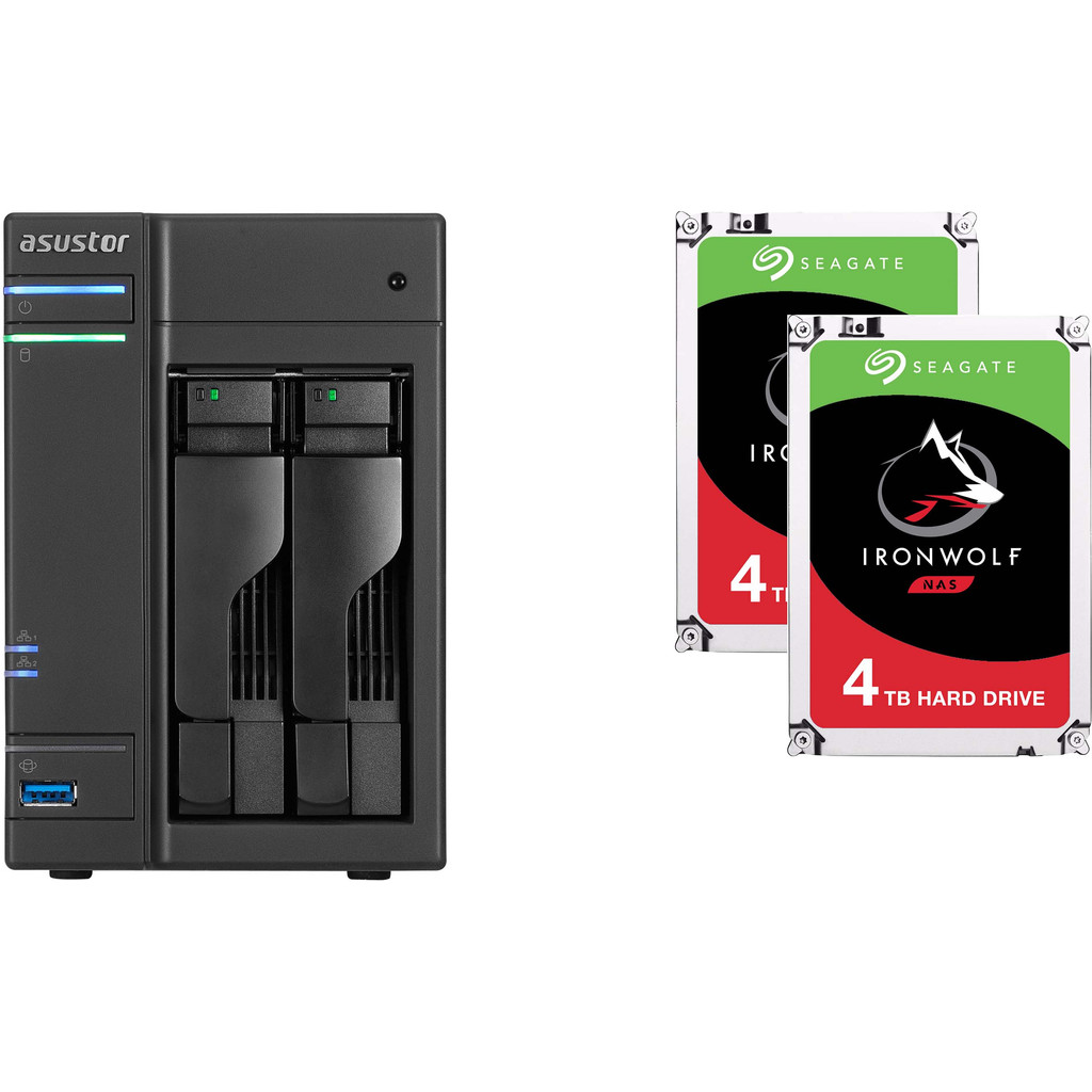 Asustor AS6302T + Seagate Ironwolf ST4000VN008 4 TB Duo Pack