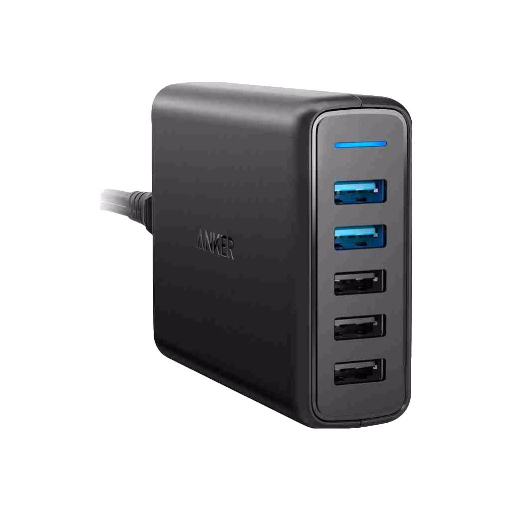 Anker PowerPort Speed met 3 USB Poorten + 2 USB Quick Charge 3.0 Poorten 12A Zwart