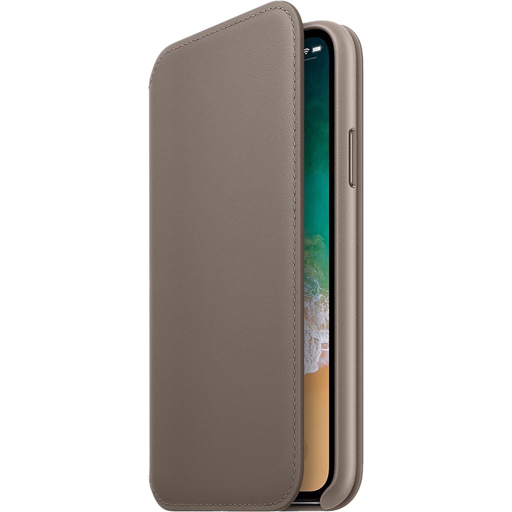 Apple iPhone X Leather Folio Book Case Beige