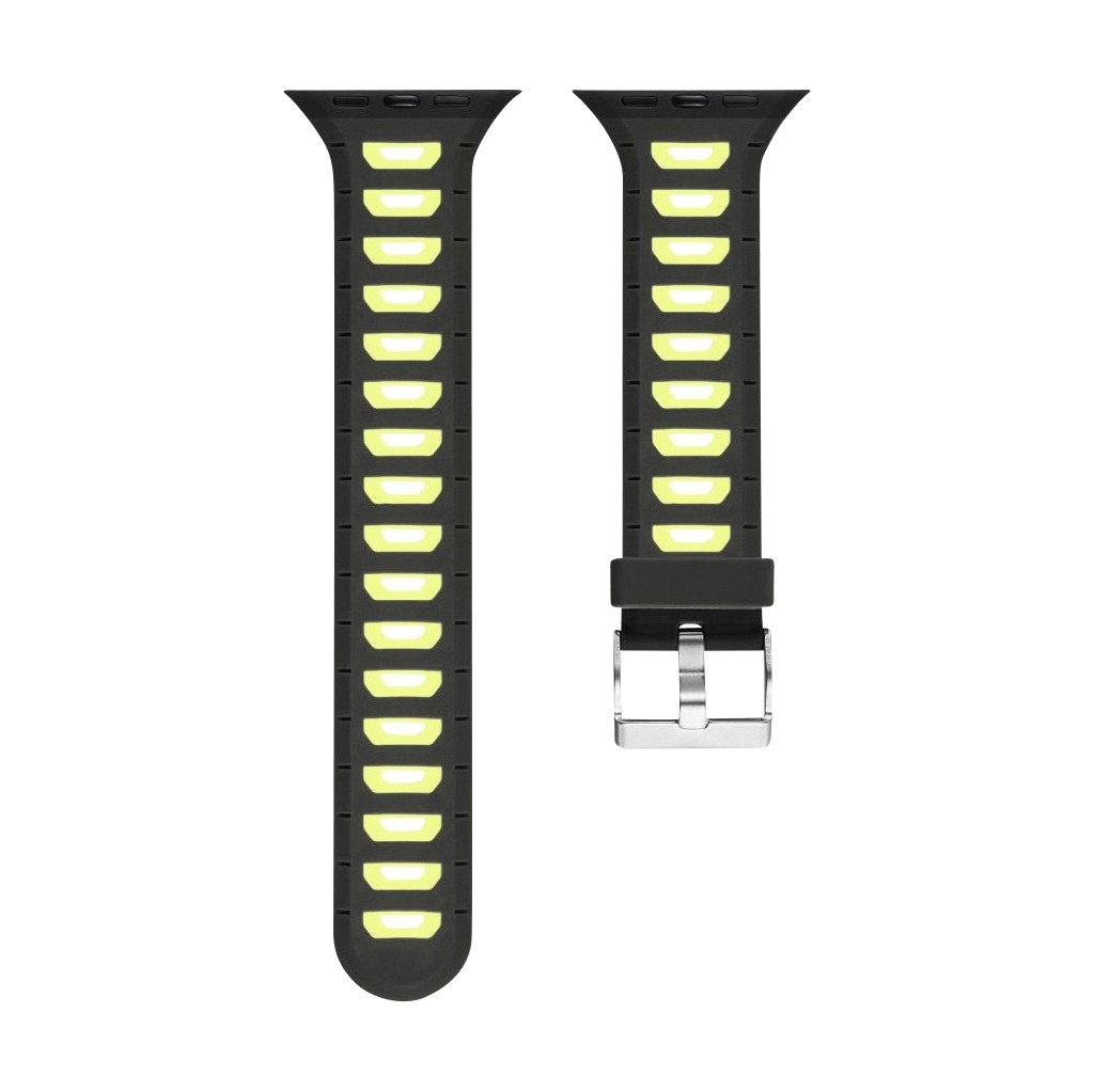Just in Case Soft Strap for Apple Watch 38/40mm Rubberen Bandje Zwart/Geel