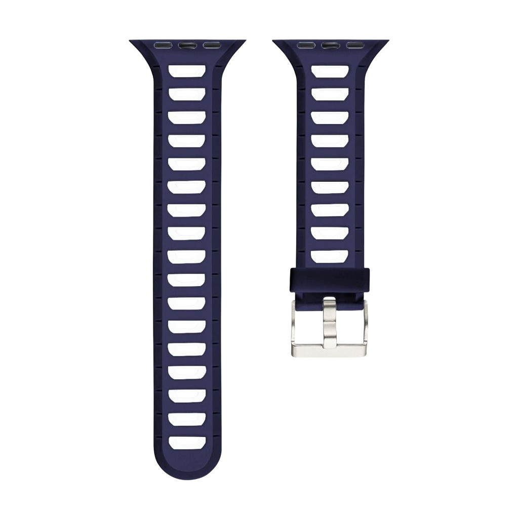 Just in Case Soft Strap for Apple Watch 38/40mm Rubberen Bandje Blauw/Wit