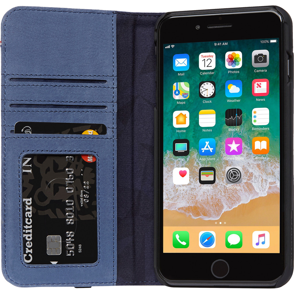 Decoded Leather Wallet Case iPhone 8 Plus/ 7Plus Blauw