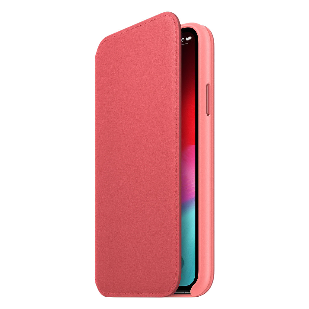Apple iPhone Xs Leather Folio Book Pioen Roze