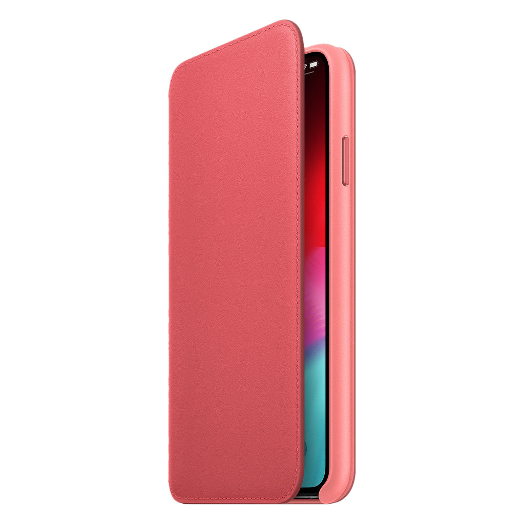 Apple iPhone Xs Max Leather Folio Book Pioen Roze