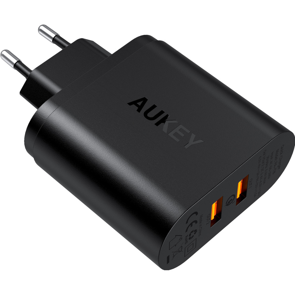 Aukey Oplader met Micro Usb Kabel 2 Usb Poorten 18W Quick Charge Zwart