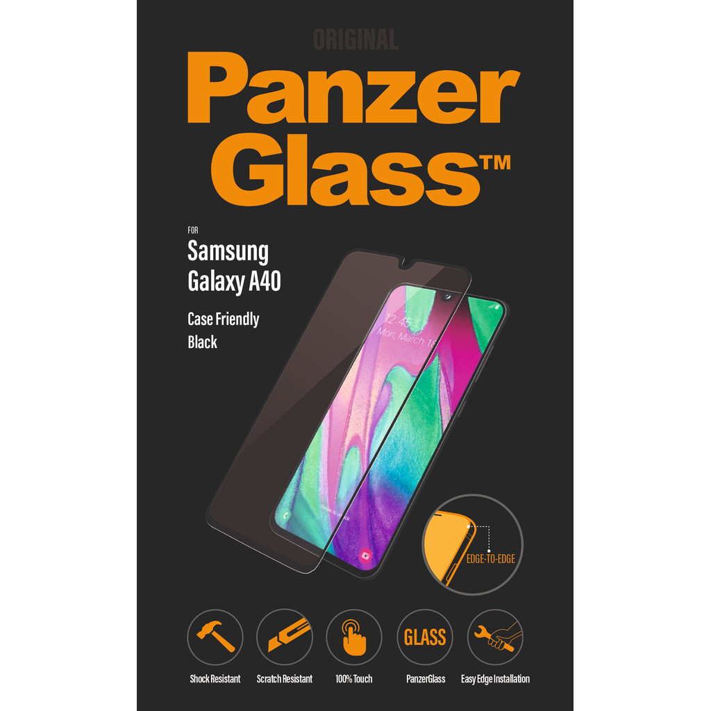 PanzerGlass Case Friendly Samsung Galaxy A40 Screenprotector Glas Zwart