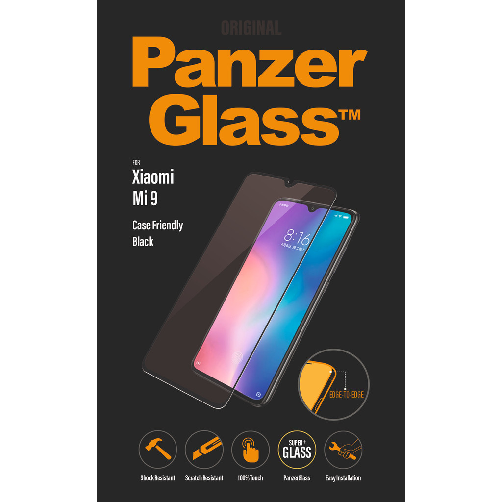 PanzerGlass Case Friendly Xiaomi Mi 9 Screenprotector Glas Zwart