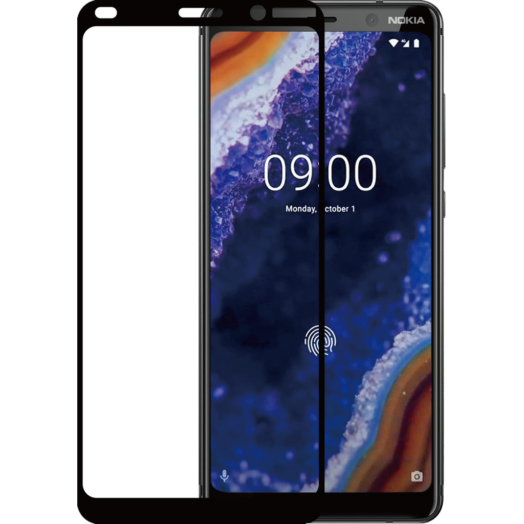 Azuri Gehard Glas Nokia 9 PureView Screenprotector Glas Zwart