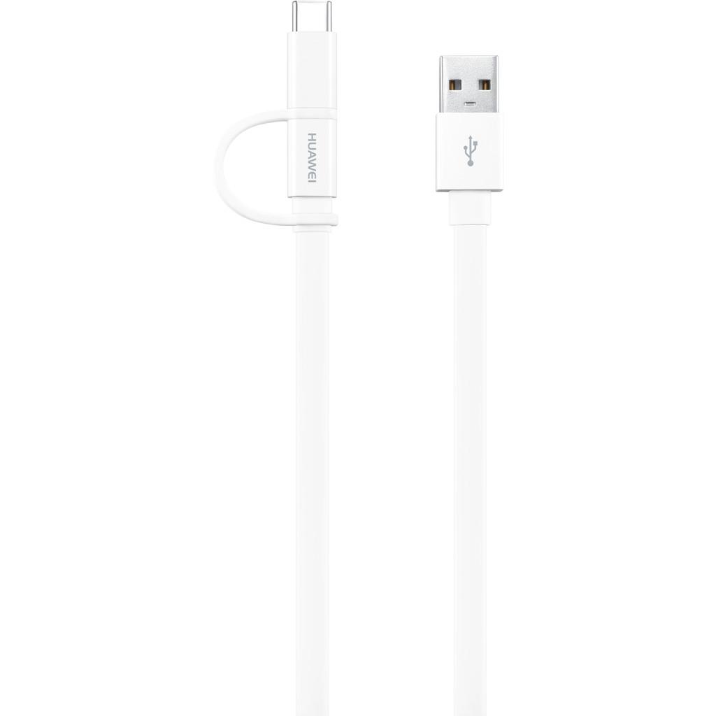 Huawei Micro Usb naar Usb A Kabel met Usb C Connector Wit 1,5m