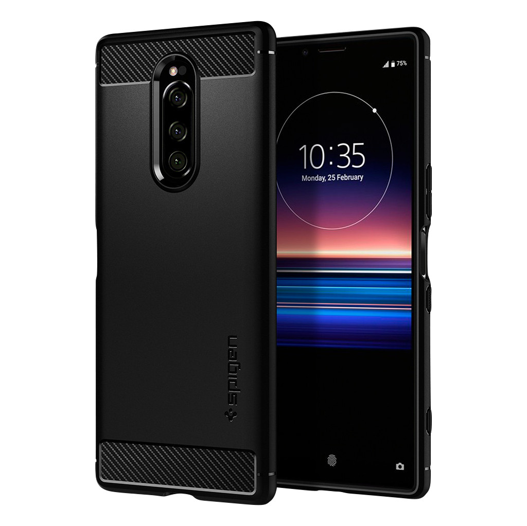 Spigen Rugged Armor Sony Xperia 1 Back Cover Zwart