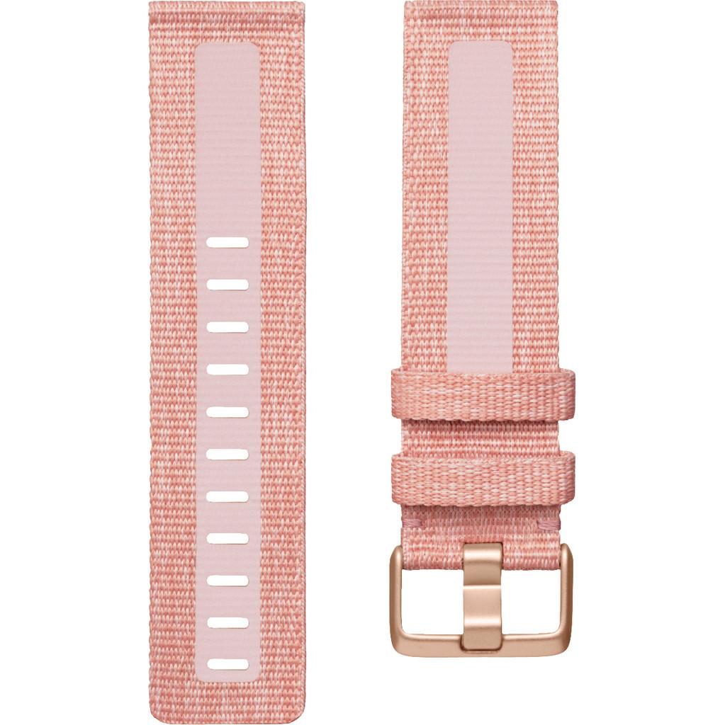 Fitbit Versa 2 Woven Siliconen Horlogeband Roze L