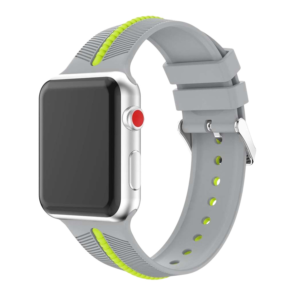 Just in Case Apple Watch 42/44mm Siliconen Bandje Groen/Grijs