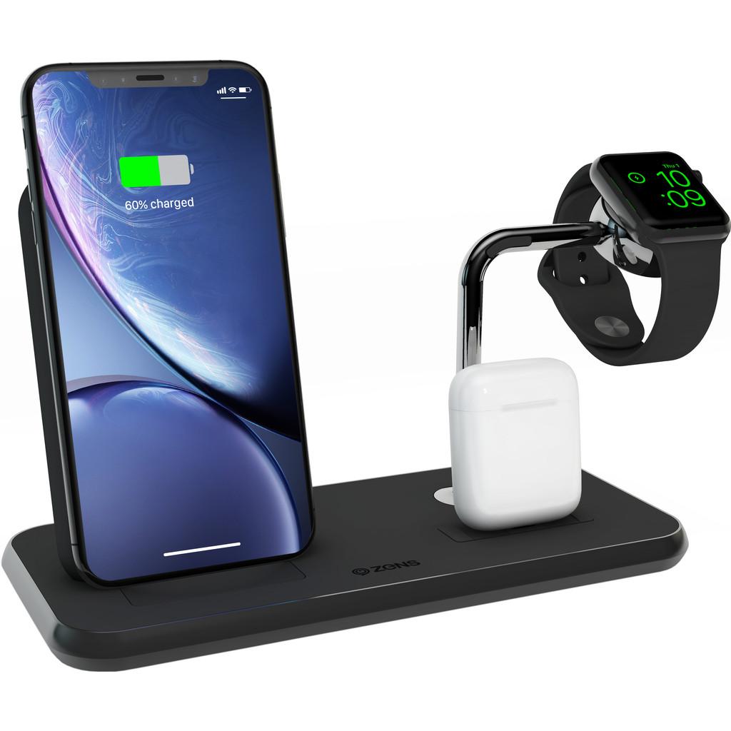 ZENS Draadloze Oplader 10W met Standaard en AirPods Dock + Watch Stand Zwart
