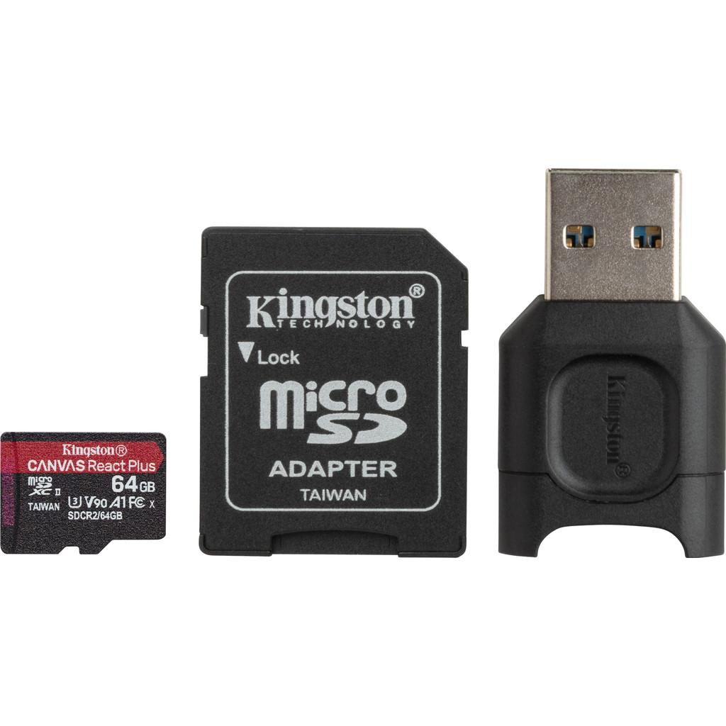 Kingston 64GB microSDXC React Plus SDCR2 met Adapter + MLPM