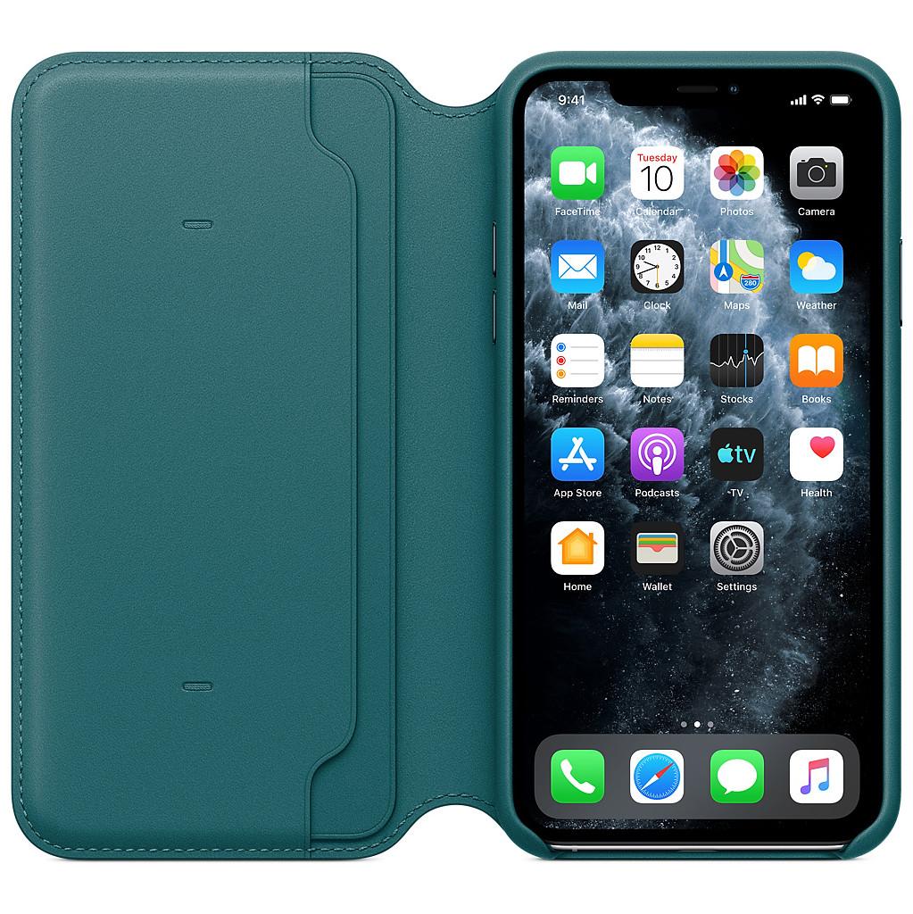 Apple iPhone 11 Pro Max Leather Folio Pauwenblauw