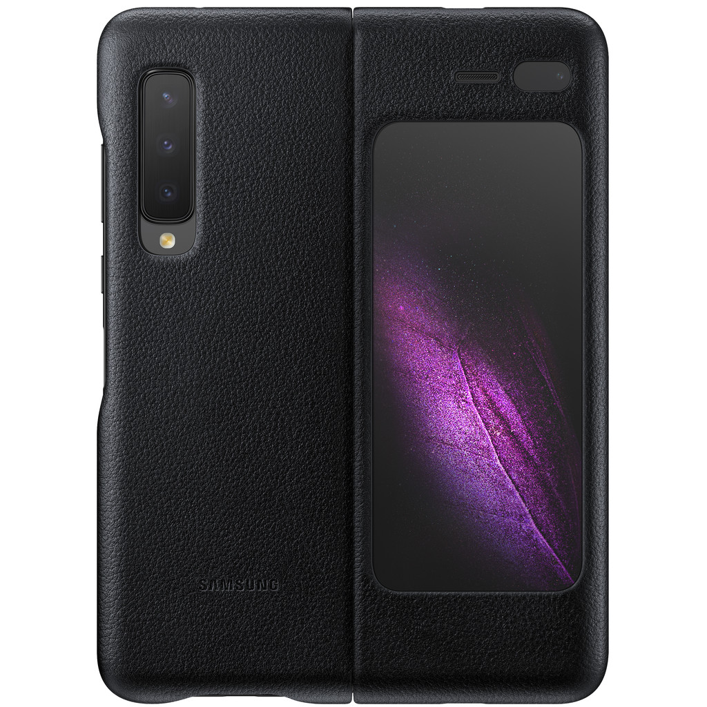 Samsung Galaxy Fold Back Cover Leer Zwart