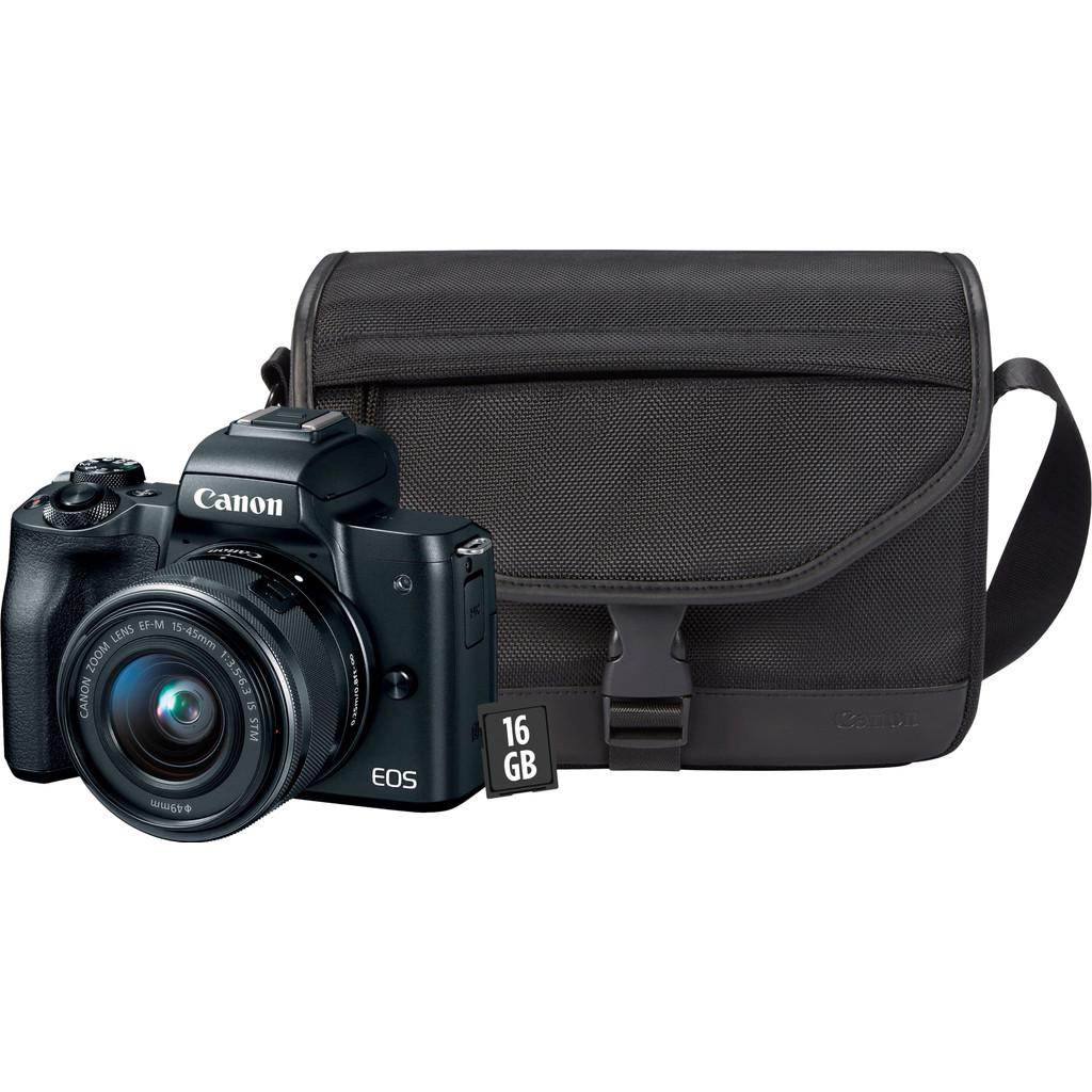 Starterskit - Canon EOS M50 Zwart + 15-45mm IS STM + tas + geheugenkaart + doekje