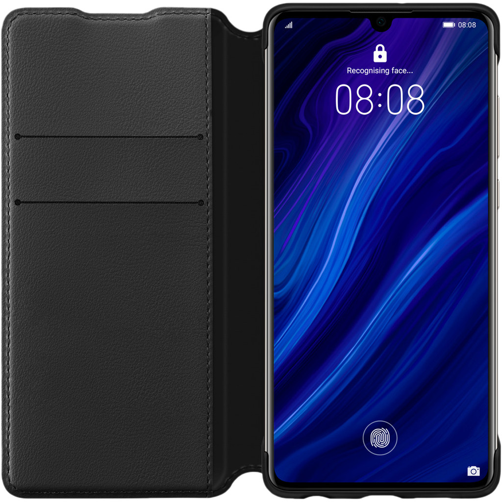 Huawei P30 Flip Cover Book Case Zwart