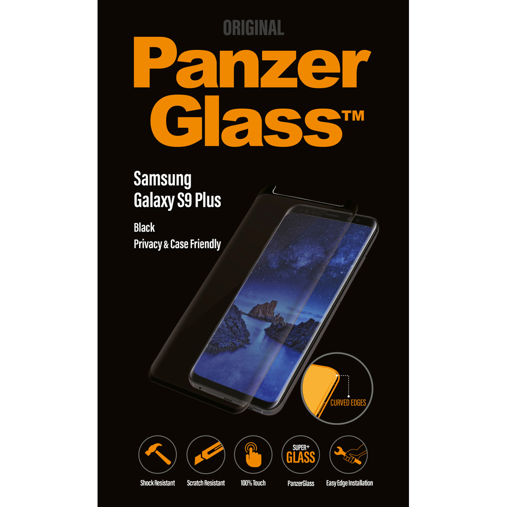 PanzerGlass Case Friendly Privacy Samsung Galaxy S9 Plus Screenprotector Glas Zwart