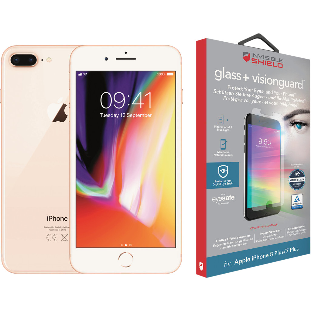 Apple iPhone 8 Plus 64 GB Goud + InvisibleShield Glass+ Visi