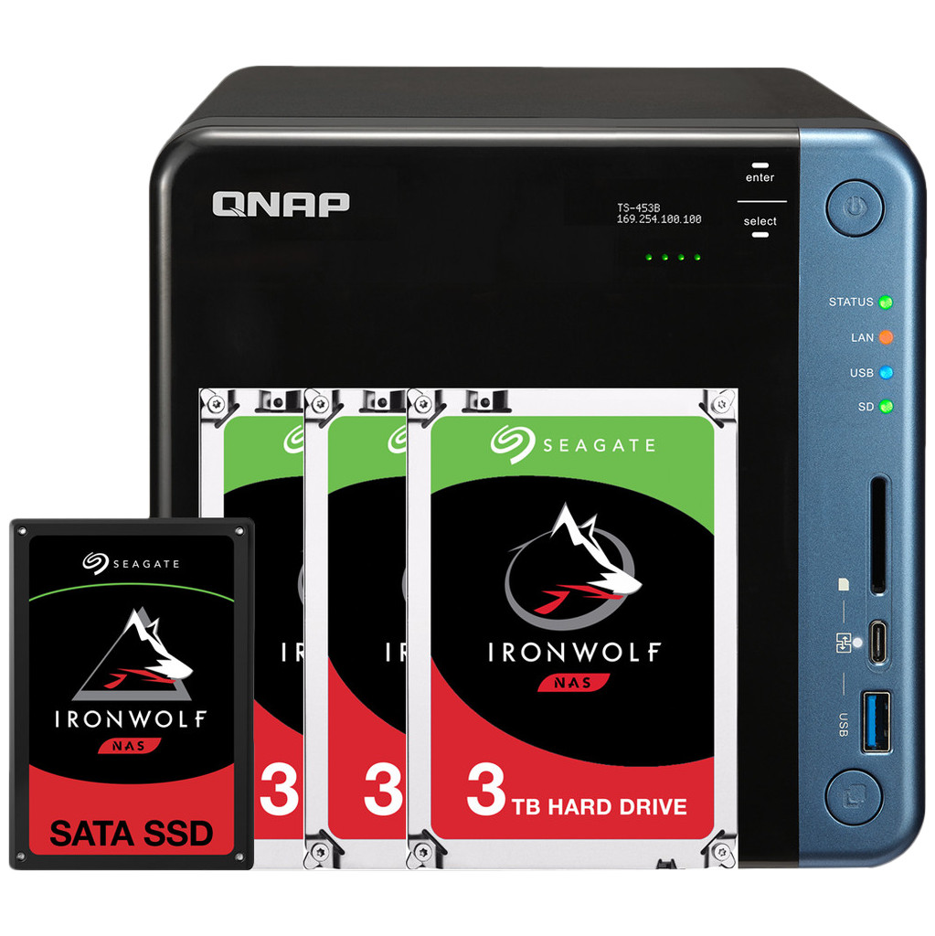 QNAP TS-453Be 4GB + 1x 480GB SSD + 3x 3TB HDD