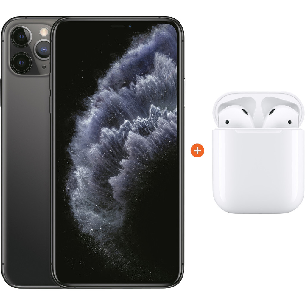 Apple iPhone 11 Pro Max 256 GB Space Gray + Apple AirPods 2 met oplaadcase
