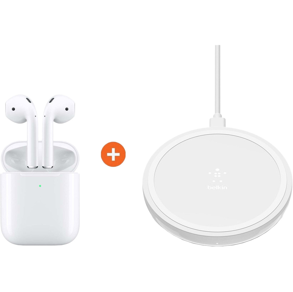 Apple AirPods 2 met draadloze oplaadcase + Belkin Boost Up Draadloze Oplader 10W Wit