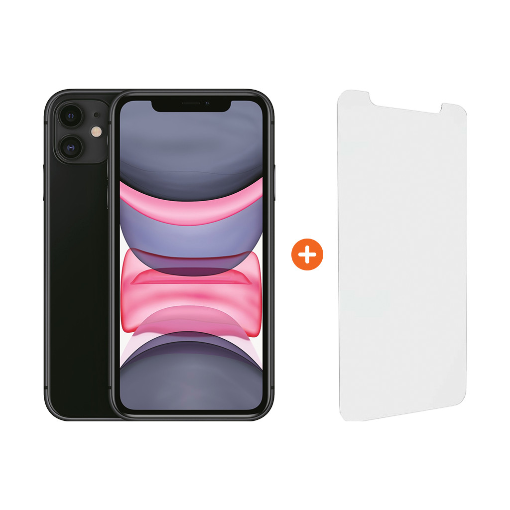 Apple iPhone 11 128 GB Zwart + InvisibleShield Glass Elite Vision+ Screenprotector
